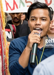 Suaram activist 'Amir Abdul Hadi' joined with protesters. Some 100 protesters took to the streets on 16 August 2016 to oppose the Kuala Lumpur City Halls's move to demolish the 'Puncak Purnama' sculpture. They marched 300 metres from the Sogo shopping complex to the Human Rights Commission (Suhakam) office to hand over a memorandum of protest. (Photo by Chris Jung/NurPhoto)